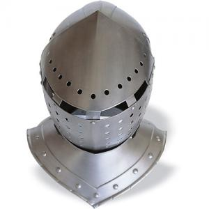 Basinet helmet, Armours - Medieval Helmets - Basinet helmet, great head armour, developed from the visored bascinet. The iron mail aventail has been wiped out, the skull cape has been lenghtened and a fixed or mobile chin has been put on. Dimensions: 30x31x38 cm.