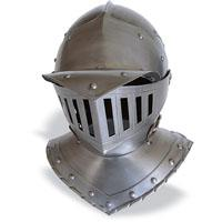 Helmet Armor, Armours - Medieval Helmets - Helmet Horse Armor XVI - XVII for horse armor used in medieval times, with a front brim and a liftable fan cage dimensions: 30x38x35cm.