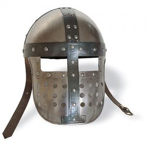 Cask-Helmet with mask, Armours - Medieval Helmets - Cask-Helmet with mask, formed by a rounded skull protection combined with a shaped iron plate that covers the entire face down to the mouth.
