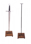 Swords and Ancient Weapons - Medieval Swords - Display for sword made from steel with massive wooden base plate.