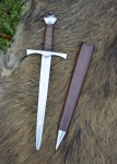 Swords and Ancient Weapons - Daggers and Sabres - Medieval Dagger of the fourteenth century. It features a double-edged steel blade with straight edges and points.