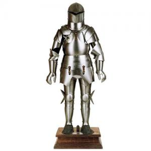 "Medieval Armor for Tournament, Armours - Medieval Armour - Medieval Armor for tournament belonged to Count ""Ulrich IX,"" made by hand in steel plate, fully wearable and comes with a rectangular wooden base."