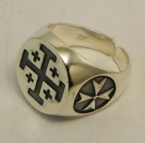 Ring Jerusalem Cross, Jewellery - Templar Medieval - Ring Jerusalem cross, made ​​of silver, is suitable for most measures.