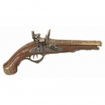 Medieval - Firearms - Flintlock pistols, Old Guns - Deluxe double barrel flintlock pistol, Its main characteristic is constituted by the two barrels that can be fired separately.