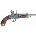 Medieval - Firearms - Flintlock pistols, Old Guns - French cavalry pistol, used since 1807, the pistol proposed is richly ornated with symbols of the Empire, not fireable. Overall lenght 35 cms.