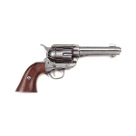 Medieval - Firearms - Revolvers - Colt Peacemaker, entirely made in cast metal with a nickel finish and a wooden butt, not fireable reproduction, overall lenght 29 cms.