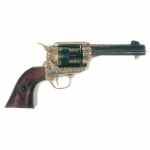 Medieval - Firearms - Revolvers - Colt Peacemaker, barrel and cylinder have a burnished finish painted with golden arabesques, while the frame has a golden finish with engraved arabesques, lenght 29 cms.