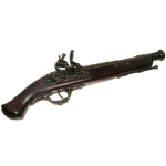 Medieval - Firearms - Flintlock pistols, Old Guns - French pistol of the XVIIIth century provided with a two-orders barrel with an enlarged mouth. Not fireable. Overall lenght 37 cms.