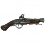 Medieval - Firearms - Flintlock pistols, Old Guns - Flintlock pistol of the XVIII century, entirely made in wood with barrel and equipment in burnished cast metal, not fireable, overall lenght 32 cms.