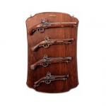 Medieval - Firearms - Flintlock pistols, Old Guns - Panel with four flintlock pistols, it holds the not fireable reproduction of four flintlock pistols, size 73 X 48 cms.