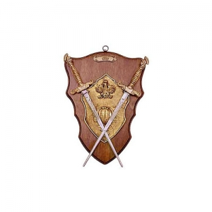 Medieval Daggers Wall Panel, Medieval - Medieval Objects - Armour-Swords Wall Panel Decorative - Panel fitted with brass plated cast metal shield