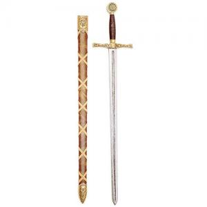 Excalibur Sword With Scabbard, Swords and Ancient Weapons - Legendary Swords - Sword made of cast metal scabbard covered with leather in brown and decorated with leather strips to cross.