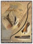"World Cinema - The Lord of the Rings - Swords and Weapons - Original Swords - The Legolas bow is made out from a single piece of Manao wood. It's technical data are: 60"" lenght, 28"" draw-lenght, 14 wires bowstring. It is available in different types, from 35 to 50 lbs of power. It is equipped with two 30"" lenght, iron tipped wooden arrows, that are an exact reproduction of the originals."