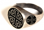 Jewellery - Templar Medieval - Ring Jerusalem Cross, made of metal with silver bath.