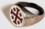 Jewellery - Templar Medieval - Jerusalem cross ring enamelled, made of metal with silver bath.