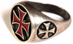 Jewellery - Templar Medieval - Ring Templar Cross enamelled, made of metal with silver bath, reproduced after detailed historical research.