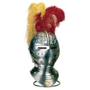 Helmet Spanish, Armours - Medieval Helmets - Helmet Spanish Horse XVI Seco embellished with engravings, slits for eyes are drawn on the front of the cap, visor covers only the small central area of the face.