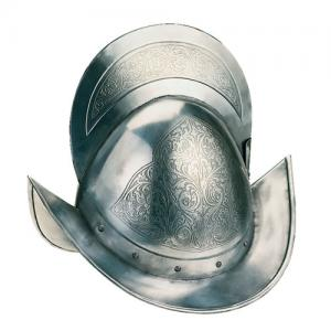 Morion Round with Ridge, Armours - Medieval Helmets - Helmet morione round with armor crest-derived cranial capacity, rounded profile, provided with a ridge segment of a circle with a tight little boat.