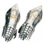 Armours - Medieval Body Armour - Medieval Finger Gauntlets - Part of armor to protect the hand, wrist articulated with the dummy, made of polished steel and embellished with decorations in gilt metal attached to the back,