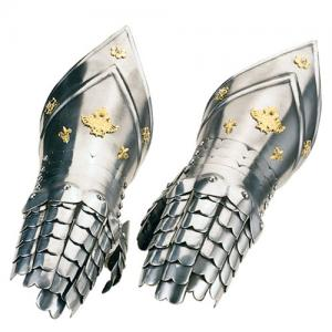 Medieval Finger Gauntlets, Armours - Medieval Body Armour - Part of armor to protect the hand, wrist articulated with the dummy, made of polished steel and embellished with decorations in gilt metal attached to the back,