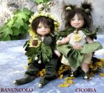 Porcelain Fairy Dolls - Porcelain Fairies Elves - Elf Doll: Chicory and Buttercup, bisque porcelain personage,  Height: 18 cm, handmade doll, The price refers to a single doll,