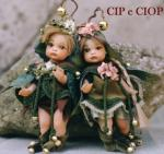 Porcelain Fairy Dolls - Porcelain Fairies Elves - Dolls Elves, Cip end Ciop, bisque porcelain personage, Height: 18 cm, handmade doll, The price refers to a single doll,