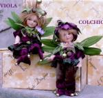 Porcelain Fairy Dolls - Porcelain Fairies Elves - Dolls Elves: Colchicum and Violet, bisque porcelain personage,  Height: 18 cm, handmade doll, The price refers to a single doll.