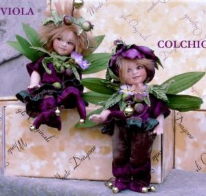 Colchicum and Violet, Porcelain Fairy Dolls - Porcelain Fairies Elves - Dolls Elves: Colchicum and Violet, bisque porcelain personage,  Height: 18 cm, handmade doll, The price refers to a single doll.