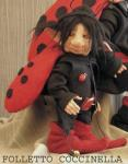 Porcelain Fairy Dolls - Porcelain Fairies Elves - Elf Doll: Ladybug , bisque porcelain personage,  Height: 22 cm, handmade doll,