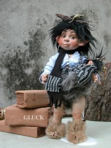 Gluck with Puppy, Porcelain Fairy Dolls - Porcelain Fairies Elves - Doll elf: Gluck with Puppy, bisque porcelain personage. Height: 30cm,