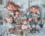 Porcelain Fairy Dolls - Porcelain Fairies Elves - Dolls Elves: Grig and Grog, bisque porcelain personage, Height: Grig: 17cm - Grog: 21cm, handmade doll. The price refers to a single doll.