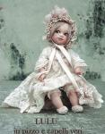 Collectible Porcelain Dolls - Porcelain Dolls - Bisque Porcelain Dolls - Collectible porcelain doll named Biscuit LULU lace and real hair. Size: 9.4 inches (24cm).