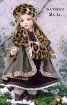 Collectible Porcelain Dolls - Porcelain Dolls - Bisque Porcelain Dolls - Porcelain dolls, Sandra, height 16.5 in, the body is movable. It is possible to change the position of the doll,