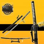 Medieval - Katana Oriental Weapons - Katana - Hattori Hanzo Katana (Katana Kill Bill) with steel blade and black sheath. Katana with scabbard and exhibitor. Katana Length: 38.6 in (98cm).