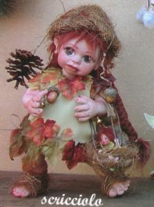 Doll elf Wren  with puppy, Porcelain Fairy Dolls - Porcelain Fairies Elves - Doll elf: Wren with puppy, bisque porcelain personage, Height: 32cm, handmade doll,