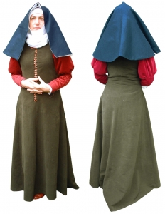Italian woman's dress style, Medieval - Medieval Clothing - Medieval Women Costumes - Woman's dress, dating from around 1460, (green dress with red sleeves)