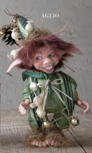 Garlic, porcelain doll, Porcelain Fairy Dolls - Porcelain Fairies Elves - Elf Doll: Garlic, bisque porcelain personage,  Height: 16/24 cm, handmade doll,