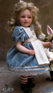 Alice - Dolls porcelain fairy tales, Collectible Porcelain Dolls - Dolls Porcelain Fairy Tales - Alice: Doll porcelain fairy tales, height 40 cm,
