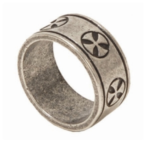 Templier  Ring, Jewellery - Templar Medieval - Templar record made of metal plated with  and aged Templar cross in relief.