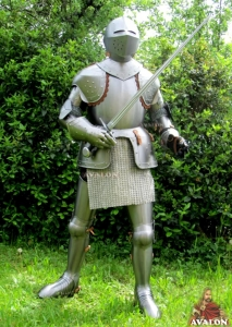 Medieval Armor (wearable), Armours - Medieval Armour - Wearable medieval armor (shiny) made of steel, handmade with wood base and steel sword.