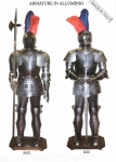 Armours - Medieval Armour - Medieval armor of aluminum with feathers, hand-finished leather and fitted with wooden base, sword or halberd choice.