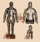 "Armours - Medieval Armour - Medieval armor ""Dei Corio"", composed of hidden high-necked, with opening face T, surrounded by a rectangular bar reinforcement. Price: 2329.42 USD."