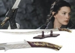 World Cinema - The Lord of the Rings - Swords and Weapons - Swords and daggers - Reproduction of the Sword Of Arwen HANDHAFANG Sword with support provided. Steel blade and wooden handle with elven symbols.