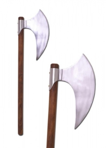 War axe, Medieval - Axes and Maces - Axes - Decorative bearded axe with wooden shaft and steel blade.