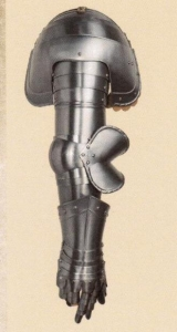 Arm Shoulder set, Armours - Medieval Body Armour - Set consists his arm and shoulder, part of armor to protect the entire bracelet, complete with a separate knob and articulated fingers. Made of brushed iron with belts leather.
