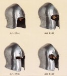 Armours - Medieval Helmets - Barbute Helmet, Venetian sallet (barbute) derived from the pelvis, but always without camaglio. Attached to the head marked by a rib midway between the hairline and neck.