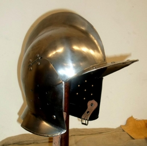 Burgonet helmet for armor, Armours - Medieval Helmets - Burgonet helmet for armor, helmet called Burgundy, is a type helmet with headgear, face uncovered.