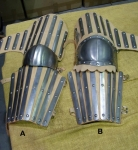 Armours - Medieval Body Armour - Part of medieval armor to protect the arm, equipped with slatted steel on leather straps to be worn.