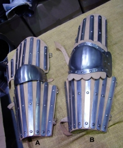 Medieval Protection  the Arm, Armours - Medieval Body Armour - Part of medieval armor to protect the arm, equipped with slatted steel on leather straps to be worn.