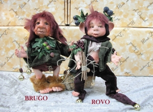 Porcelain Doll: Brugo and Rovo, Porcelain Fairy Dolls - Porcelain Fairies Elves - Dolls Elves: Brugo and Rovo, bisque porcelain personage, Height: 21 cm, handmade doll, The price refers to a single doll.